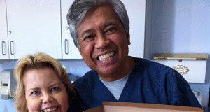 Lori Hartwell and dialysis nurse Marc Manolo, RN