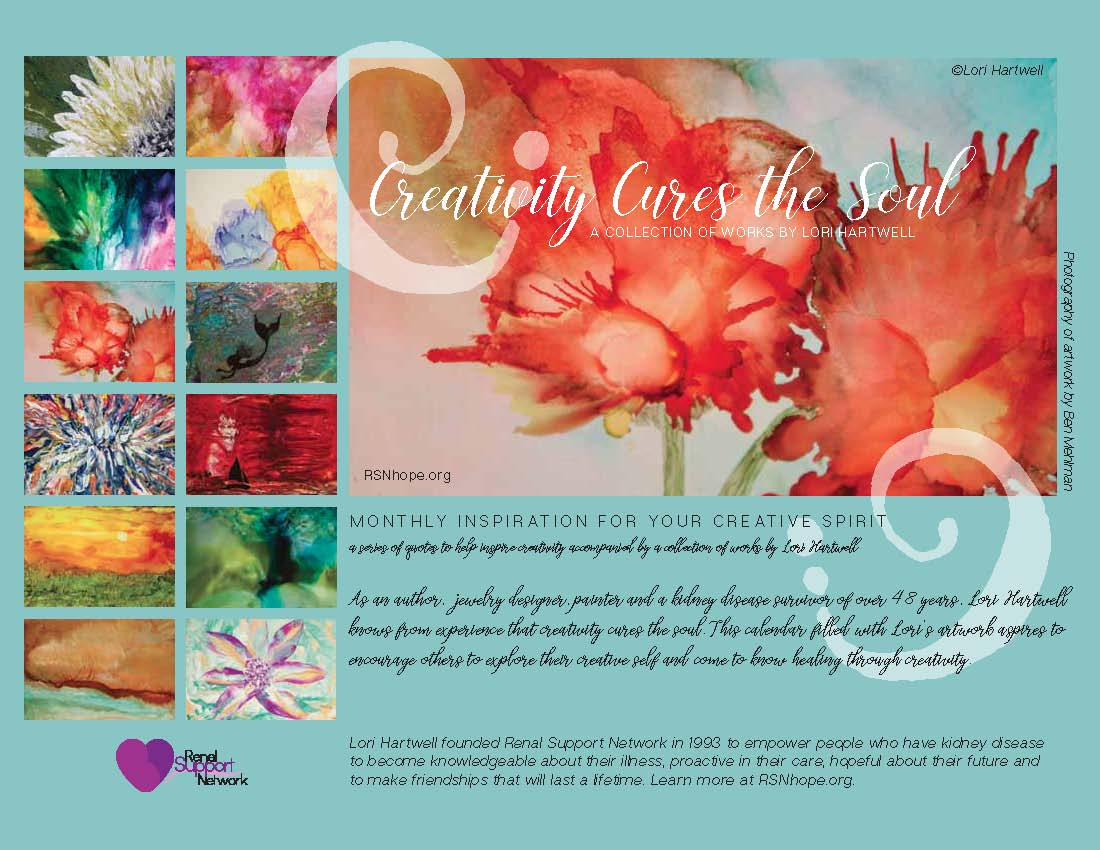 gift with $50 donation - 2018 Calendar - Renal Support Network - Lori Hartwell