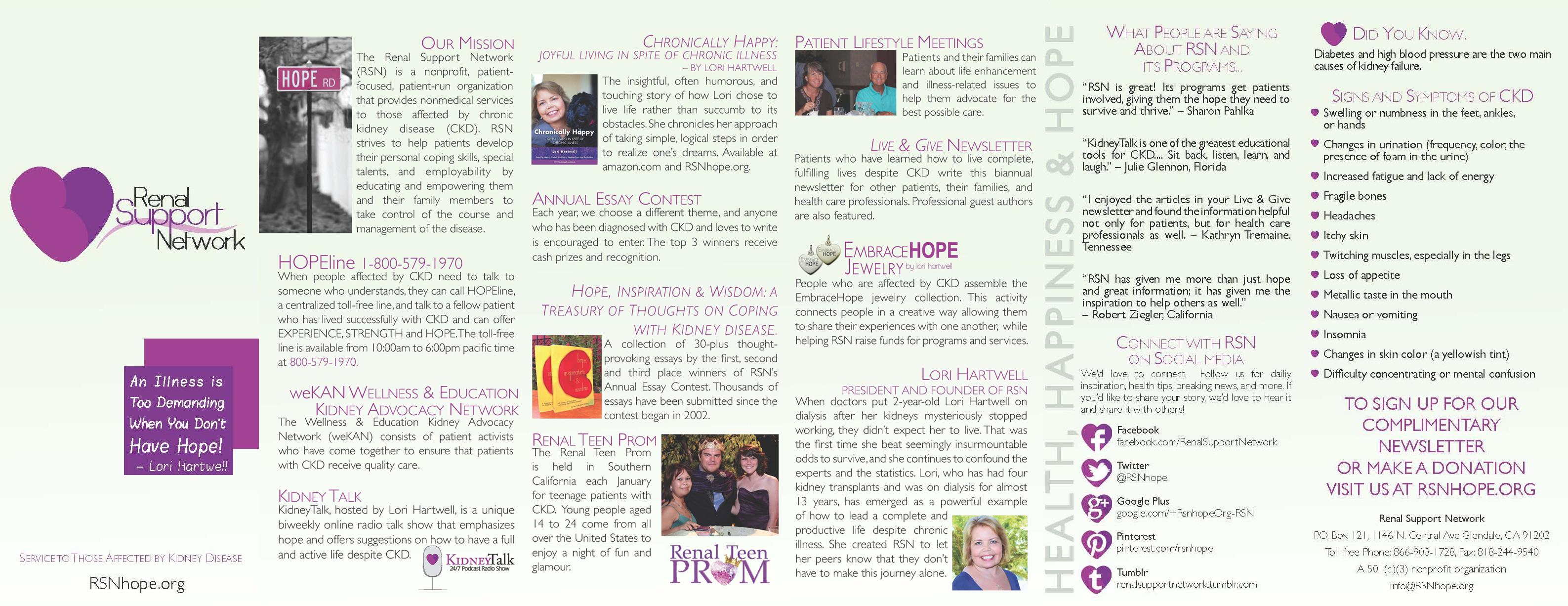 Renal support Network Programs Brochure