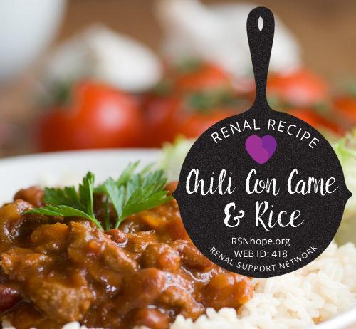 Renal Recipe - Chile Con Carne and Rice
