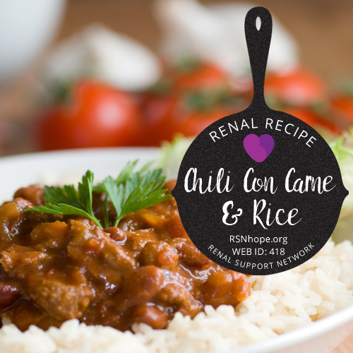 Renal Recipe - Chile Con Carne and Rice
