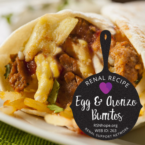 kidney friendly breakfast - renal recipe - Breakfast Burritos with Eggs and Mexican Sausage