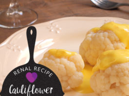 kidney friendly recipe - Cauliflower in Mustard Sauce