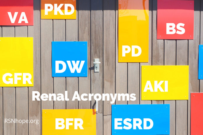 Renal Acronyms - kidney disease abbreviations