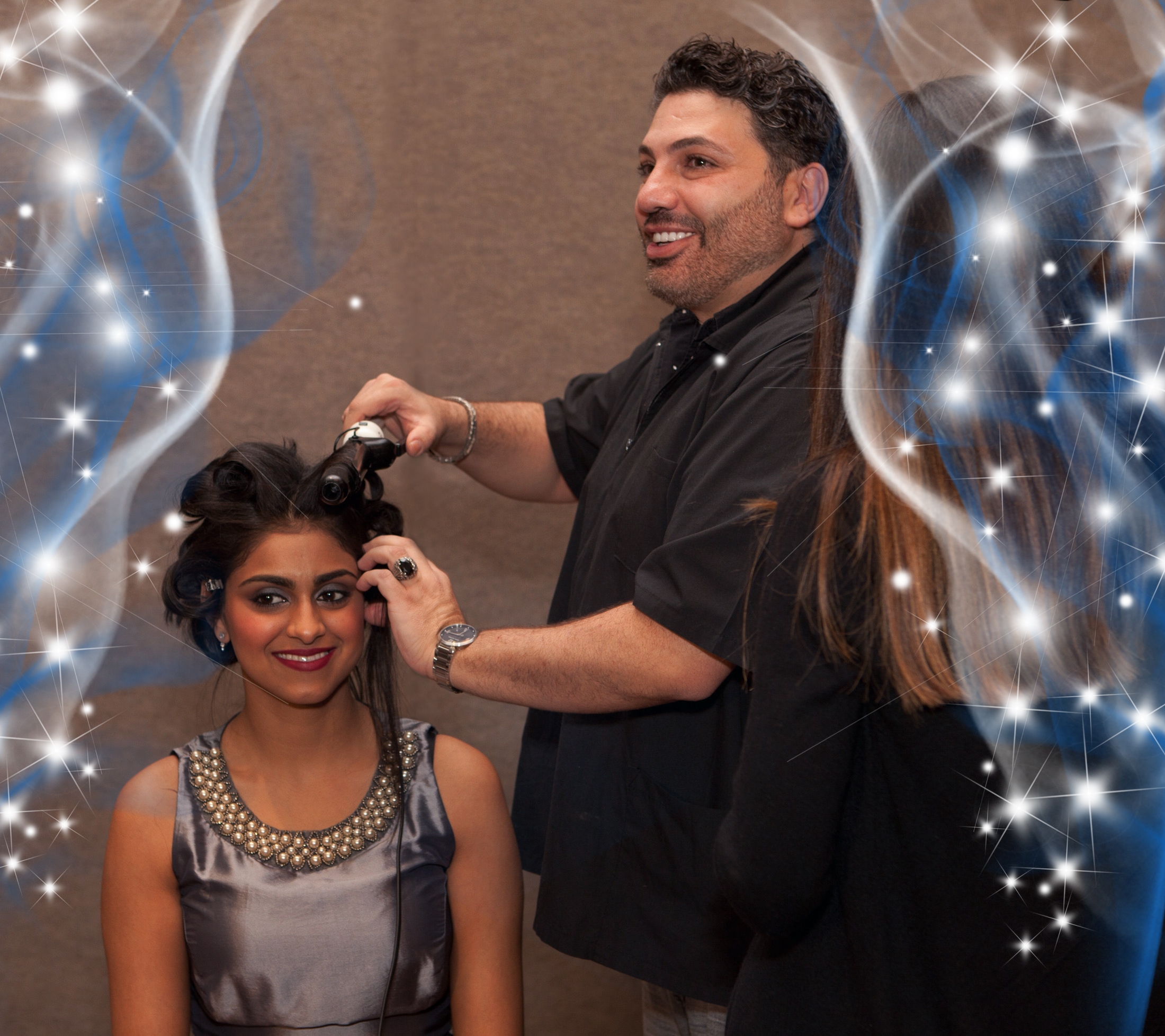 Meghna Verma getting all dolled up for the prom courtesy of a volunteer professional make up and hair stylist