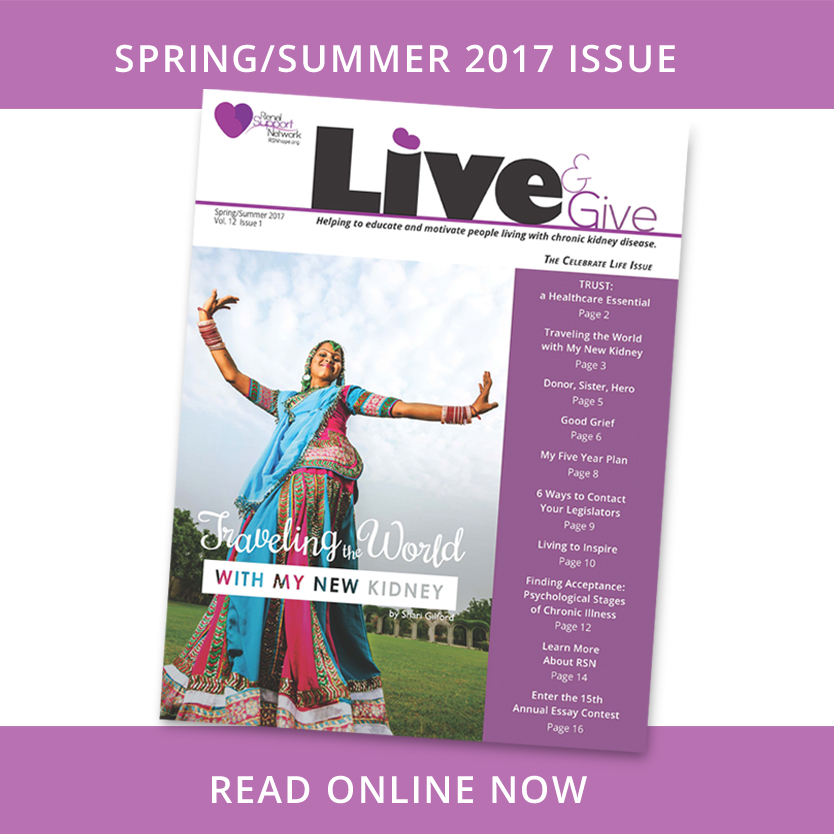 Live and Give Newsletter for people with kidney disease