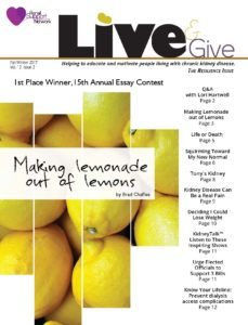 living with kidney disease - Live &Give Newsletter for people with kidney disease
