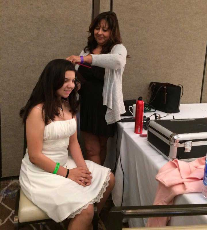 Iliana and hair stylist Suzanne Perez - renal teen prom