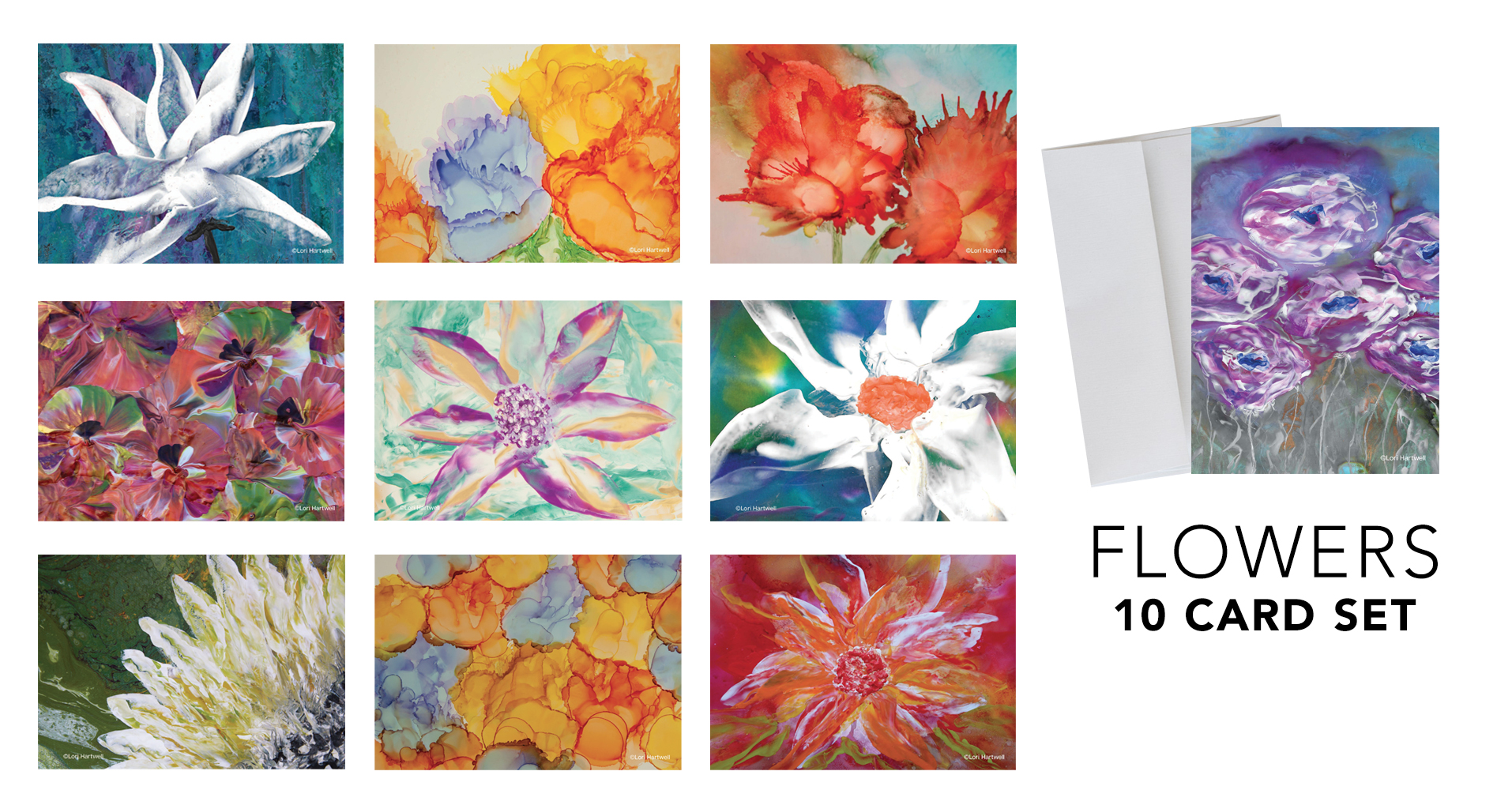 Fine Art Notecards - Flowers - 10 CARD SET
